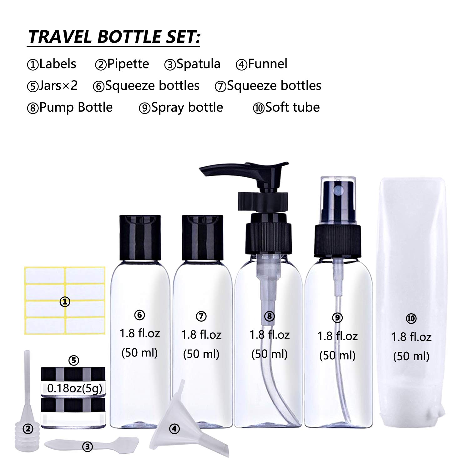 12 in 1 Travel Bottles TSA Approved Leak-Proof Refillable Travel Bottle Set with Labels and Clear Toiletry Bag for Shampoo Conditioner Liquids 3-1-1 Carry-On Luggage Compliant for Airplane - Women