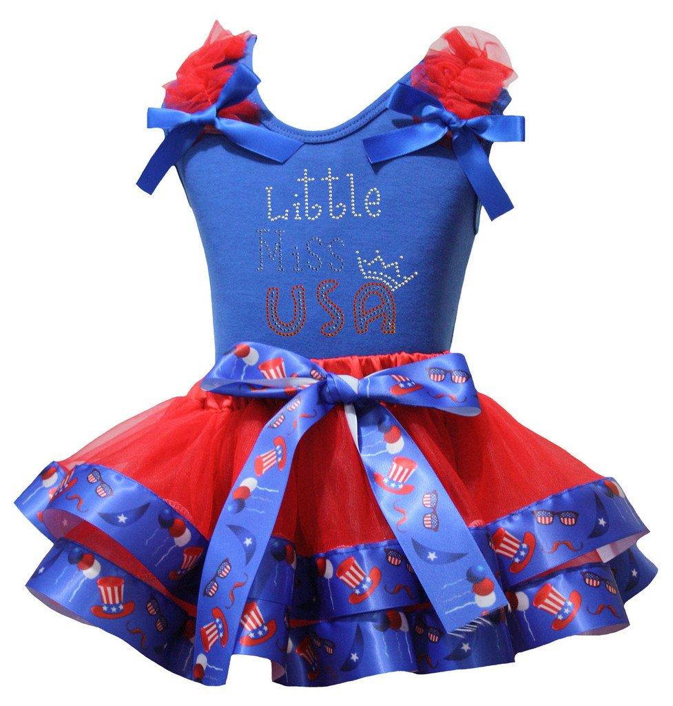 Petitebelle Little Miss EE.UU. Camisa de EE.UU. Sombrero pétalo rojo de la falda de Nb-8y 1-3 años Azul
