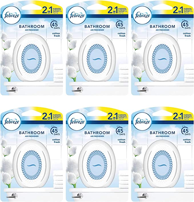6 X Cotton Fresh Febreze 2in1 Bathroom Small Spaces Air Freshener 7 5 Ml Amazon Co Uk Health Personal Care