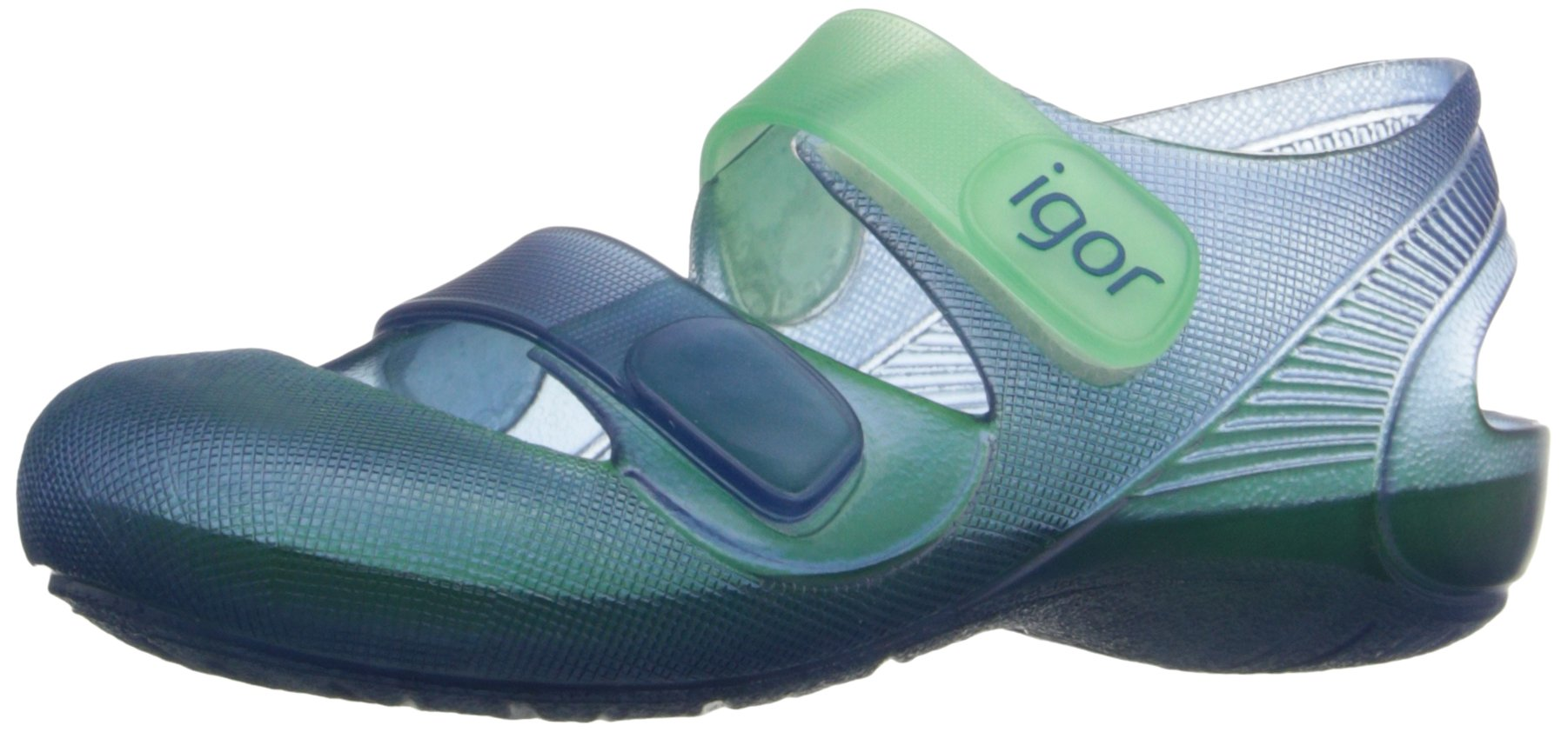 Igor S10146 Boys' Bondi Jelly Sandal, Navy/Green, 26 M EU/9 M US Toddler