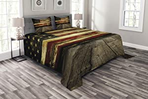 Ambesonne United States Bedspread, Vintage American Flag on Wooden Planks Wall Background Grunge Print, Decorative Quilted 3 Piece Coverlet Set with 2 Pillow Shams, Queen Size, Umber Cream Red Blue