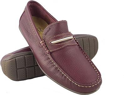 Zerimar Chaussures Bateau en Cuir pour Hommes | Chaussures