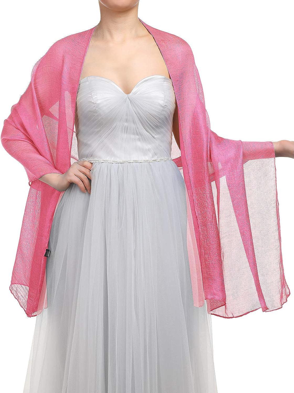 180CM Sommer Tuch Stolen f/ür Kleider in 22 Farben GardenWed Damen Glitzerschal Scarves Stola 70