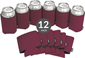 Koozie Can Cooler Blank Beer Koozie for Cans and Water Bottles, Bulk DIY Insulated Beverage Holder Personalized Gifts for Events, Bachelorette Parties, Weddings, Birthdays (Maroon, 12)