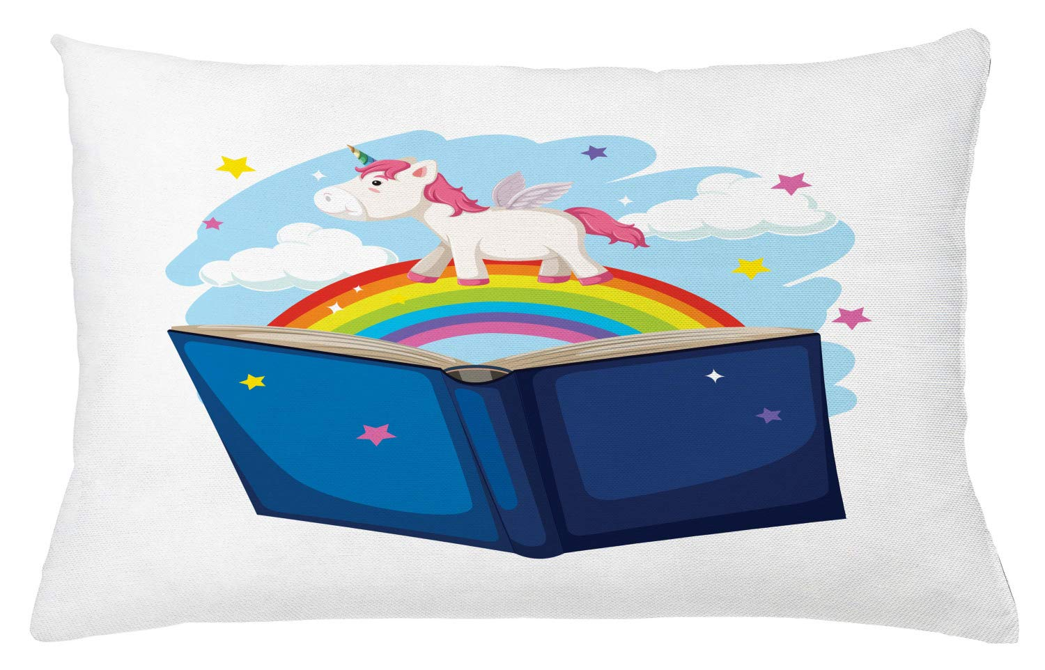 Lunarable Rainbow Throw Pillow Cushion Cover, Nursery Themed Happy Scene of a Winged Funny Unicorn and Open Book, Decorative Accent Pillow Case, 26'' X 16'', Night Blue and Multicolor