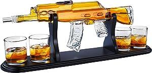 Gun Whiskey Decanter Gift Set by Royal Reserve | Home Bar Decor Liquor Dispenser with Scotch Glasses– Gift for Men Dad Brother Hunter Boyfriend Husband Anniversary or Retirement 850 ML