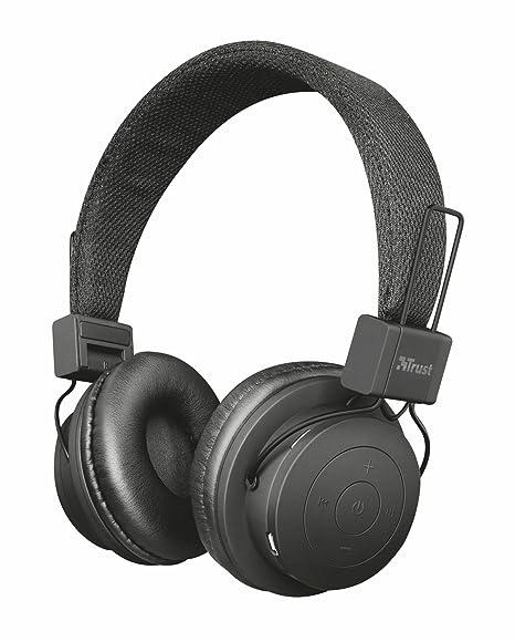 Trust Leva - Auriculares inalámbricos con Bluetooth, Color Negro