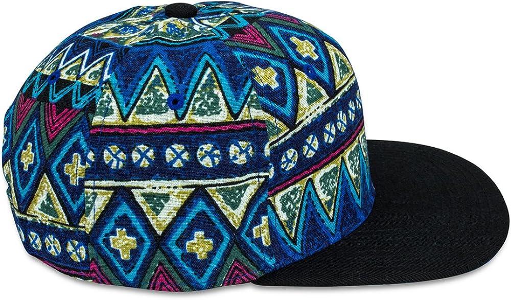 Sense42 Snapback mit schwarzem Schirm im Azteken Design Flat Cap Bill Unisex Hip Hop Kappe Schirmm/ütze One Size in Verschiedenen Farben