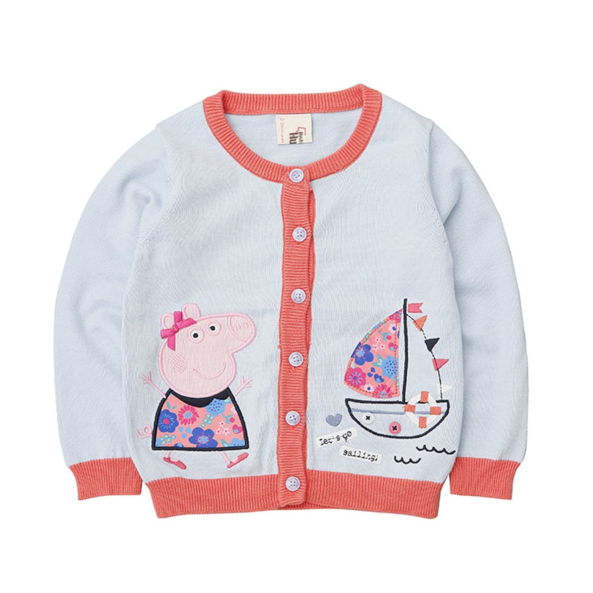 Little Girls' Cute Pink Pig Embroidery Knit Cardigan Sweater (Baby/Toddler) 130cm/fit 6-7 Years Old