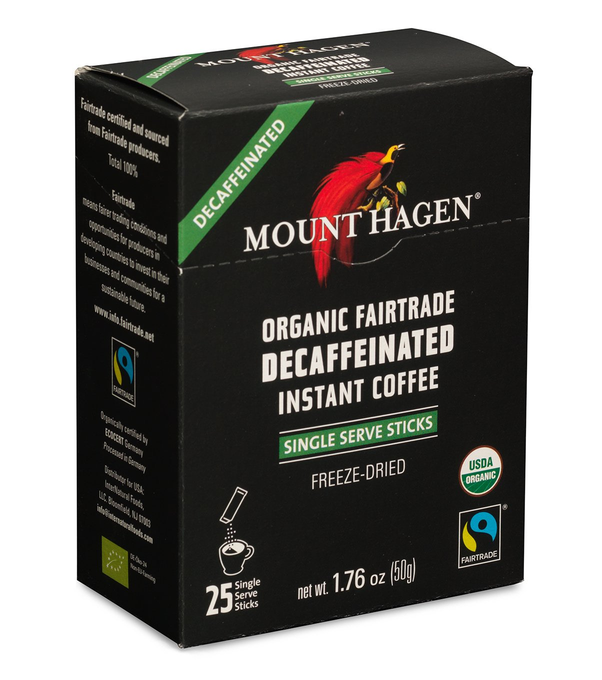 Mount Hagen - DECAFFEINATED Organic Instant Coffee Freeze Dried 25 Single Serve Packets- 1.76 Oz Each , (Pack of 2) by Mount Hagen