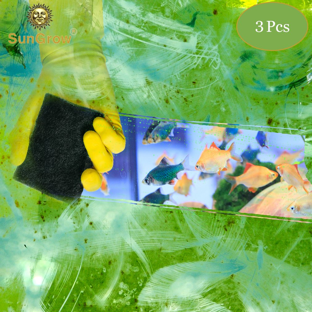3 Algae Scrub Pads by SunGrow -- Remove Stubborn Algae from nooks and crannies easily - Saves time - Creates A Sparkling clear aquarium - Long-lasting Pads
