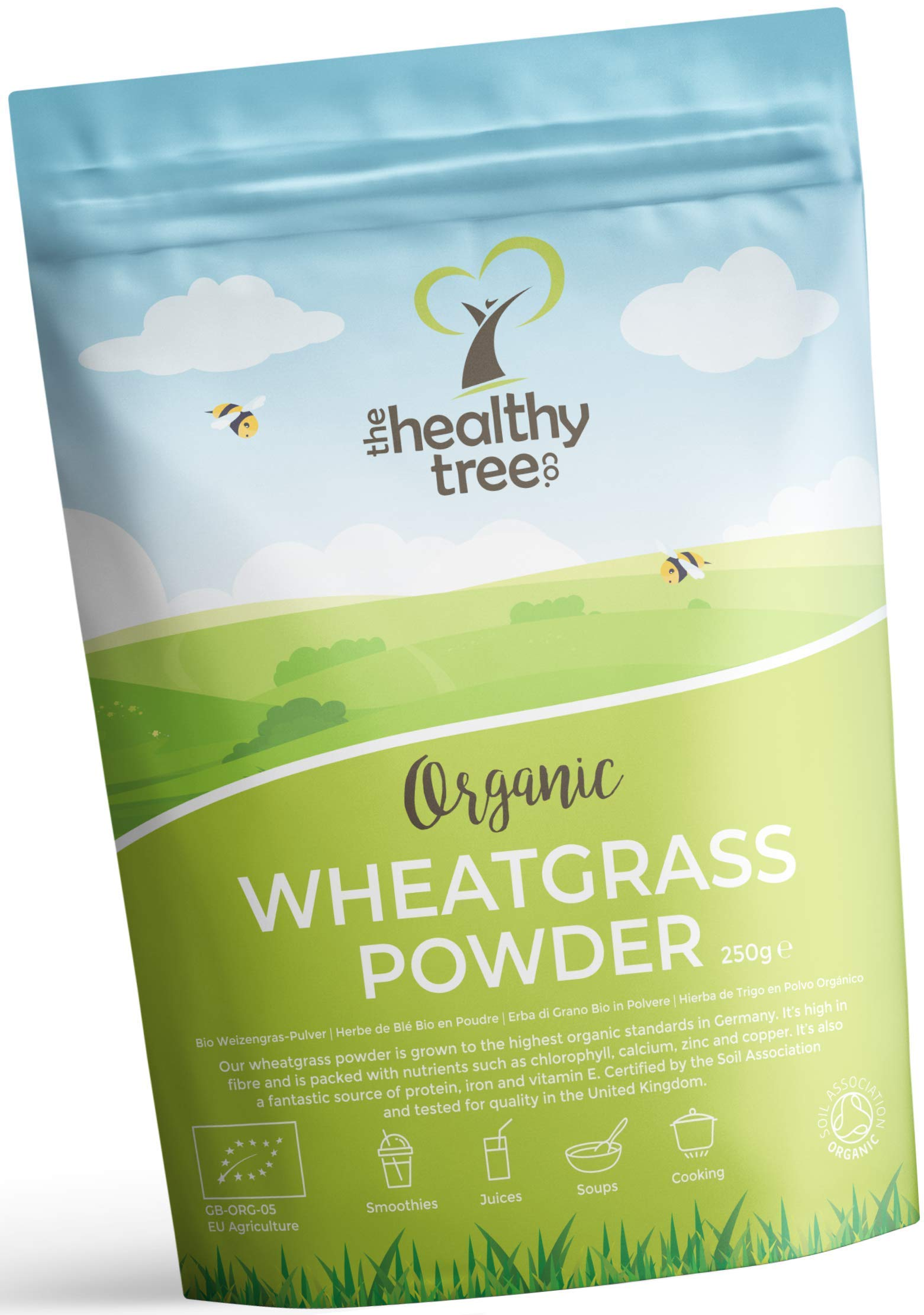 Organic Wheatgrass Powder from Germany - High in Protein, Fibre, Calcium and Chlorophyll - Perfect for Green Superfood Juices - Pure Wheatgrass Powder by TheHealthyTree Company product image