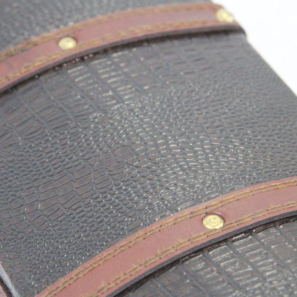 1PLUS Bo/îte /à Tr/ésor Coffre au tr/ésor coffre en bois en bois avec en cuir synth/étique, marron 30/x 17/x 16/cm L x P x H