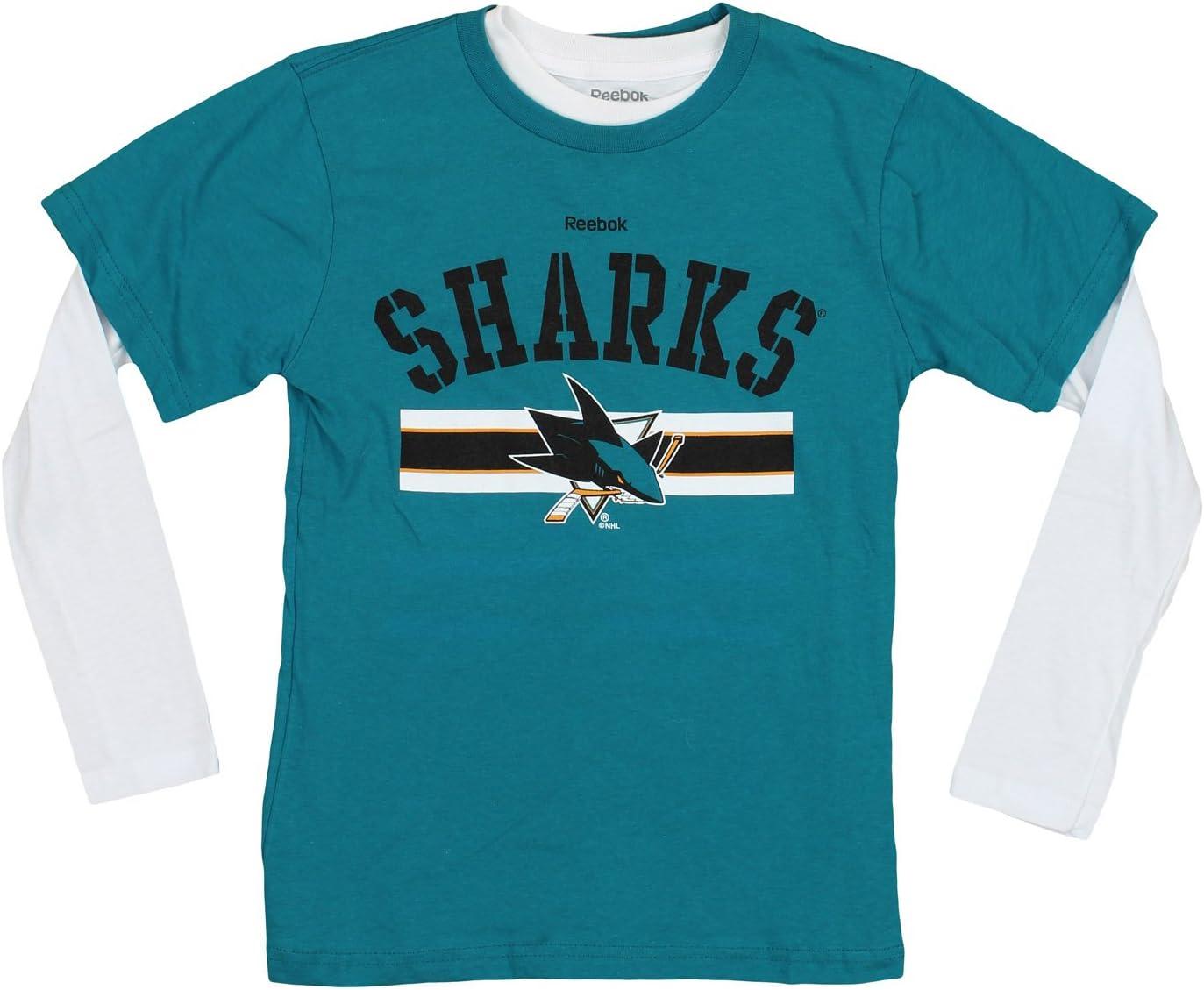 Reebok NHL Boys Youth Kids Hat Trick 2 Piece Short Sleeve & Long Sleeve T-Shirt Combo Pack