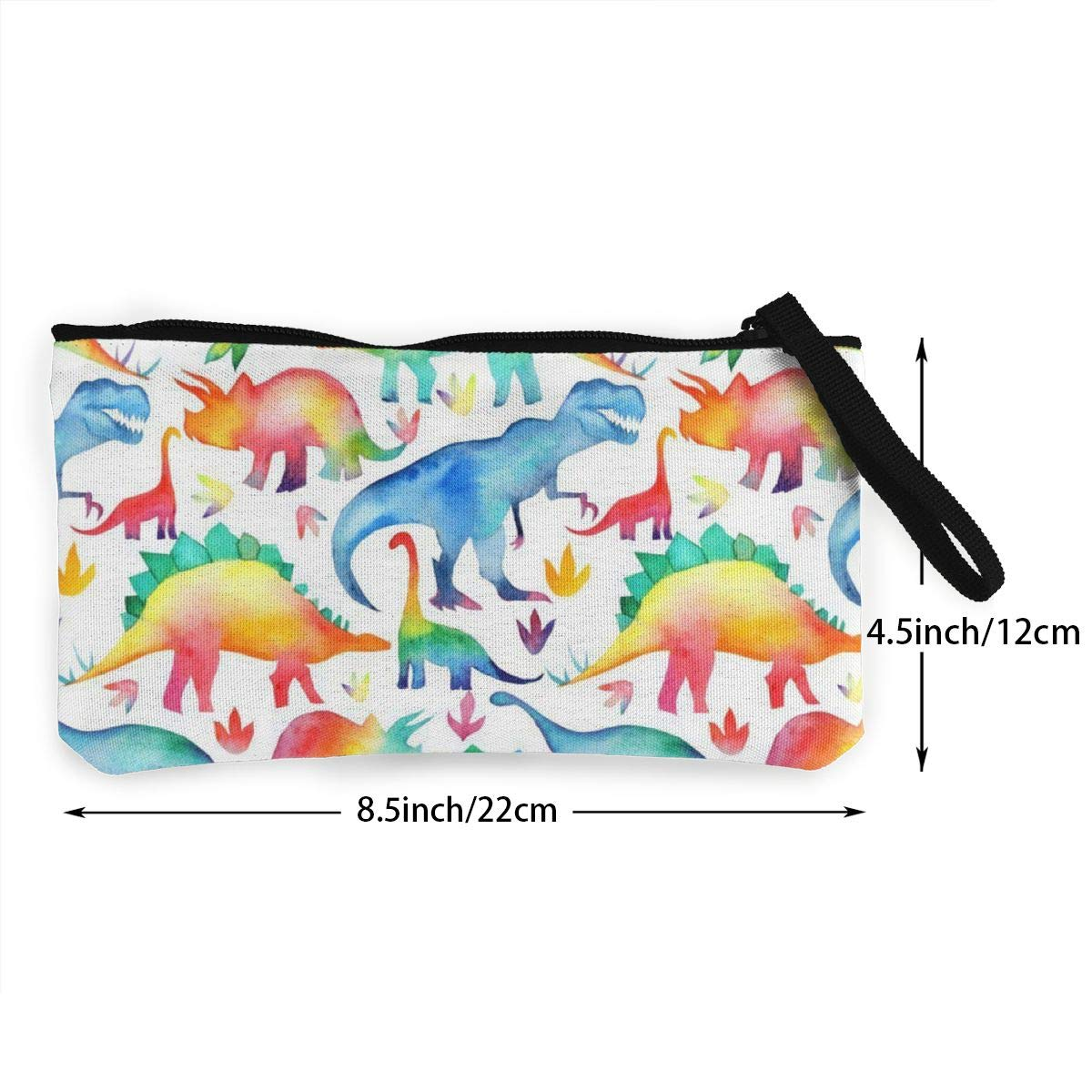 Rainbow Watercolour Dinosaurs Zipper Canvas Coin Purse Wallet Make Up Bag,Cellphone Bag With Handle