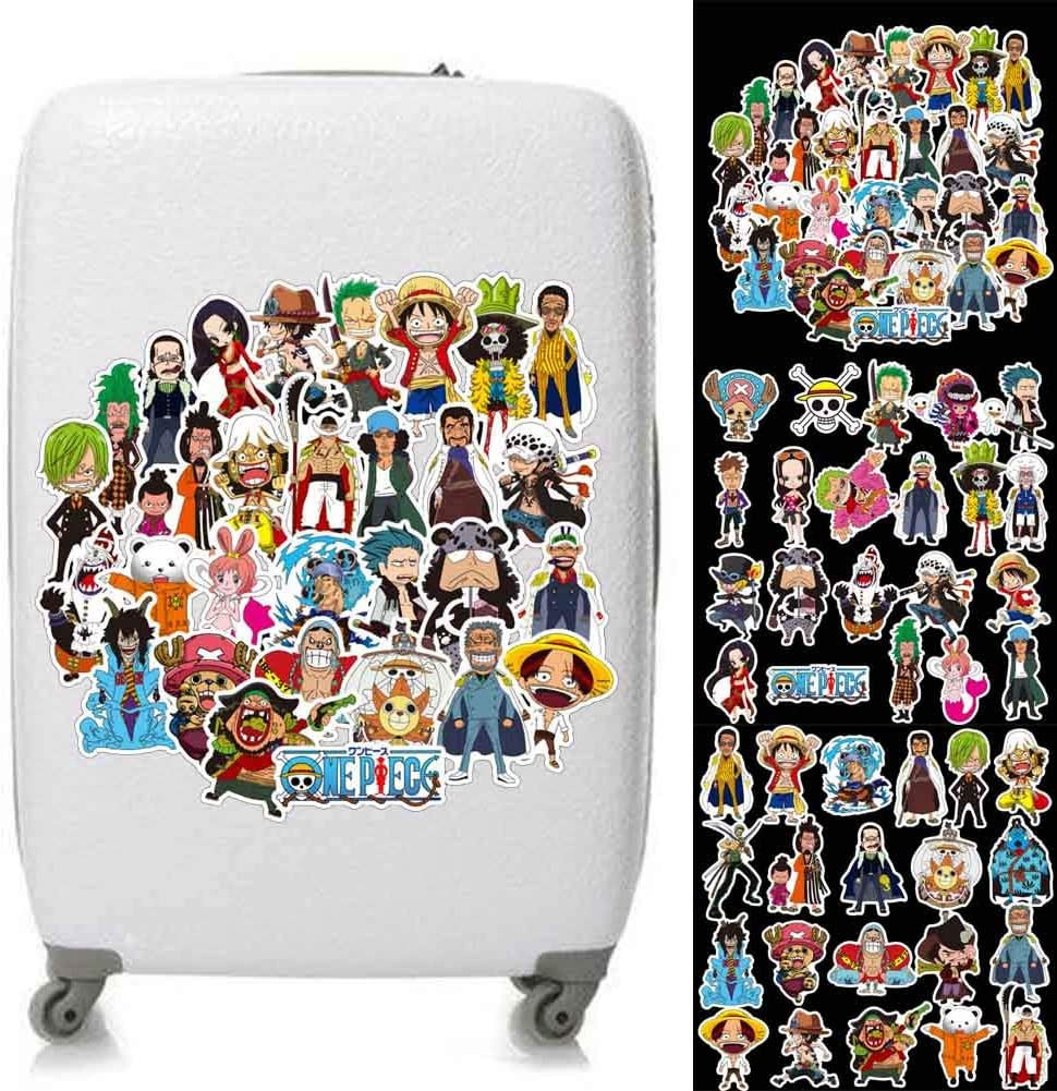 Vinyle Autocollants pour Ordinateur Portable Moto V/élo Skateboard Bagages Bumper Stickers 50pcs lunanana Anime One Piece Luffy Autocollants