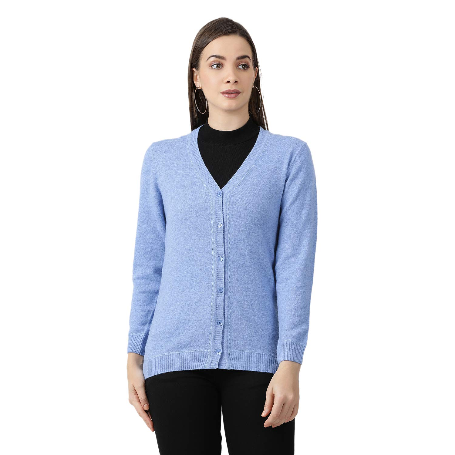 Monte Carlo Women's Solid Wool V Neck Cardigan (Sky Blue, S