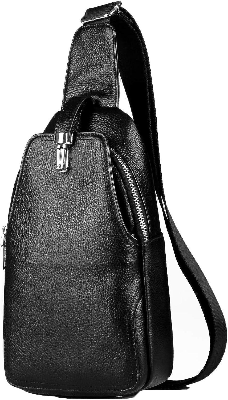 LXFF Men's Leather Sling Bag Chest Bag Pack Backpack Shoulder Crossbody Bags For Men Travel Hiking Daypack Black