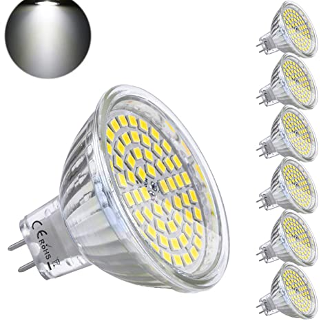 Bombilla LED GU5.3 MR16 12V 5W Blanco Frio Equivalente a Halogeno 35W Spot Luz GU 5.3 6000K Foco Ojo de Buey 450 Lumen No-regulable Ø50 x 48 mm Pack ...