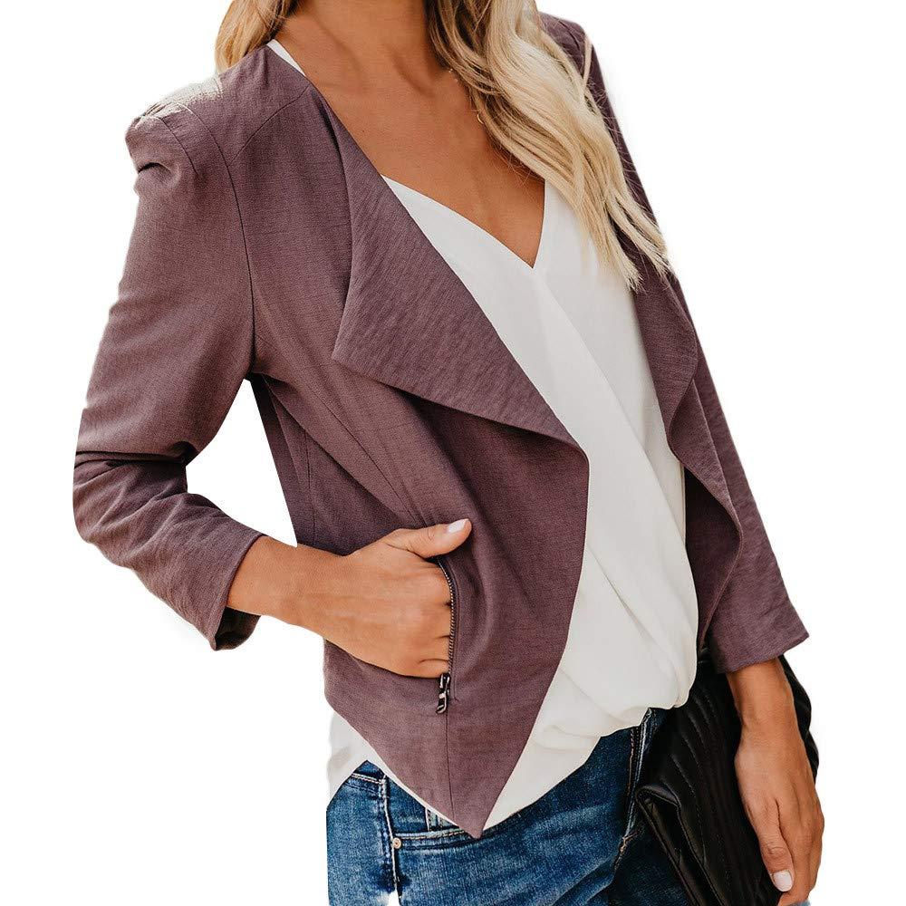 Women Blazers 2018, Vanvler Ladies Suit Jacket Open Front Short Cardigan Work Office Coat Lapel Long Sleeve Vanvler❤women coat jacket