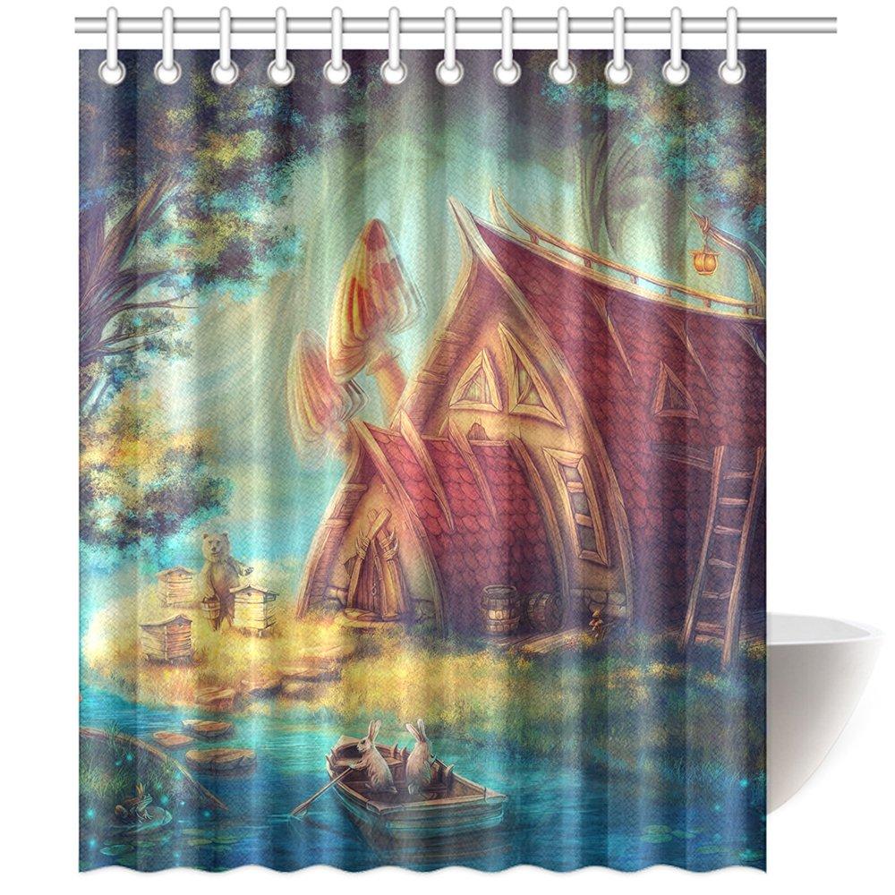 CTIGERS Shower Curtain for Kids Cute Cartoon Fairy Tale World Rabbits Bear Boat Wood House Polyester Fabric Bathroom Decoration 60 x 72 Inch