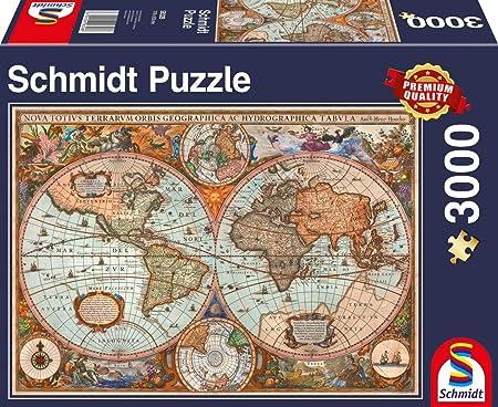 Schmidt Spiele- Puzzle de 3000 Piezas, diseño de Mapa del Mundo Antiguo, Color carbón (58328): Amazon.es: Juguetes y juegos