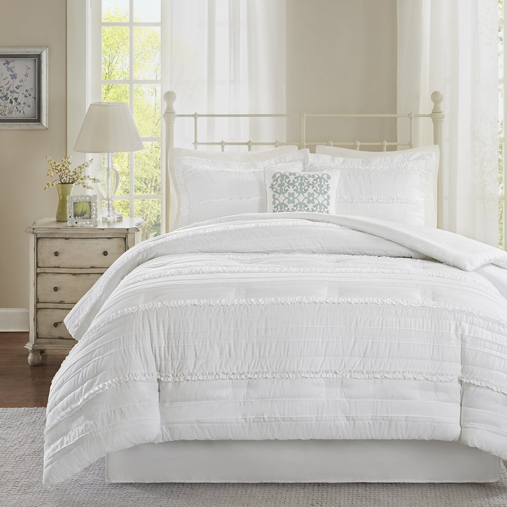 Madison Park Celeste Queen Size Bed Comforter Set - White, Ruffle Stripes – 5 Pieces Bedding Sets – Ultra Soft Microfiber Bedroom Comforters