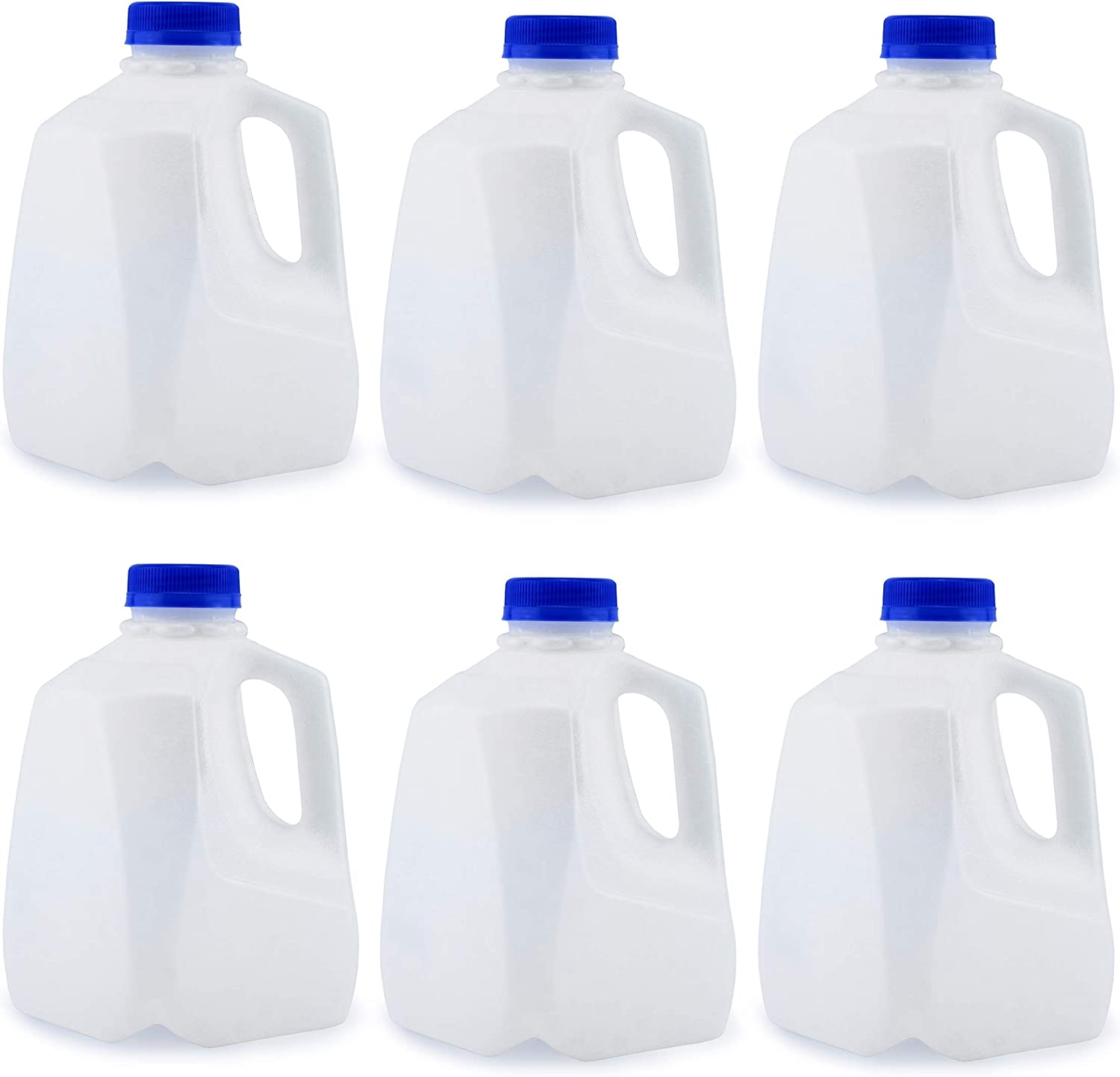 Cornucopia 32-Ounce Plastic Jugs (6-Pack); Bottles with Caps for Juice, Water, Sports and Protein Drinks and Milk, BPA-Free