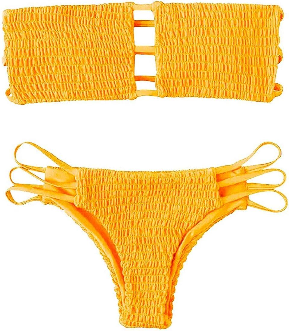 Costume da Bagno Bikini a Due Pezzi,Sexy Spiaggia Beachwear Swimwear Yuson Girl Bikini Donna,Bandeau Cutout Halter Top Slip Thong Bikini Bottom
