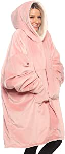 THE COMFY Original | Oversized Microfiber & Sherpa Wearable Blanket, Seen On Shark Tank, One Size Fits All (Blush)