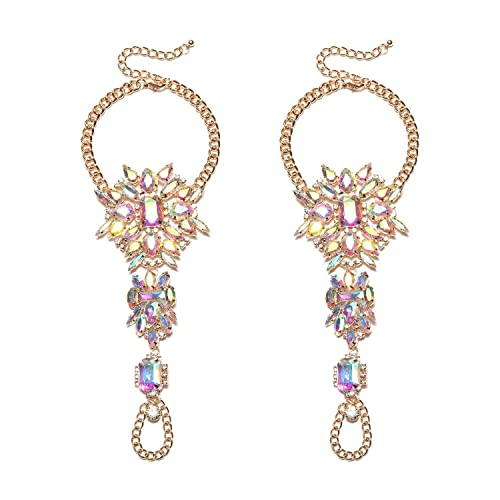 3c2089cb02582 Holylove 1 Pair 2 Color Crystal Foot Jewelry for Women Barefoot Sandals  Beach Wedding with Gift