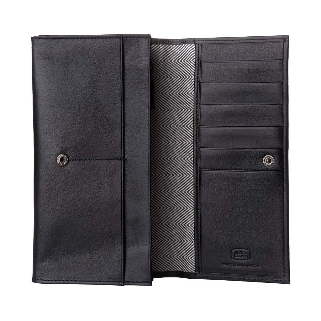 Antica Toscana Damenbrieftasche mit Zwei Falten, aus echtem Leder, mit Klappe, Kartensteckfächern und internem Reißverschluss Schwarz B01NAZEKJV Geldbrsen