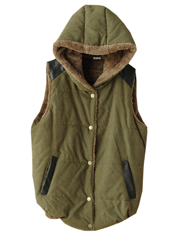 Finejo Women Fashion Furry Long Warm Hoodie Vest Jackets