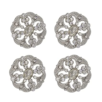 SHINYTIME Pearl Rhinestone Buttons 4 Pieces Sew-On Silver Crystal Buttons  for Bridal Clothing Wedding dcb2e12f5fa7