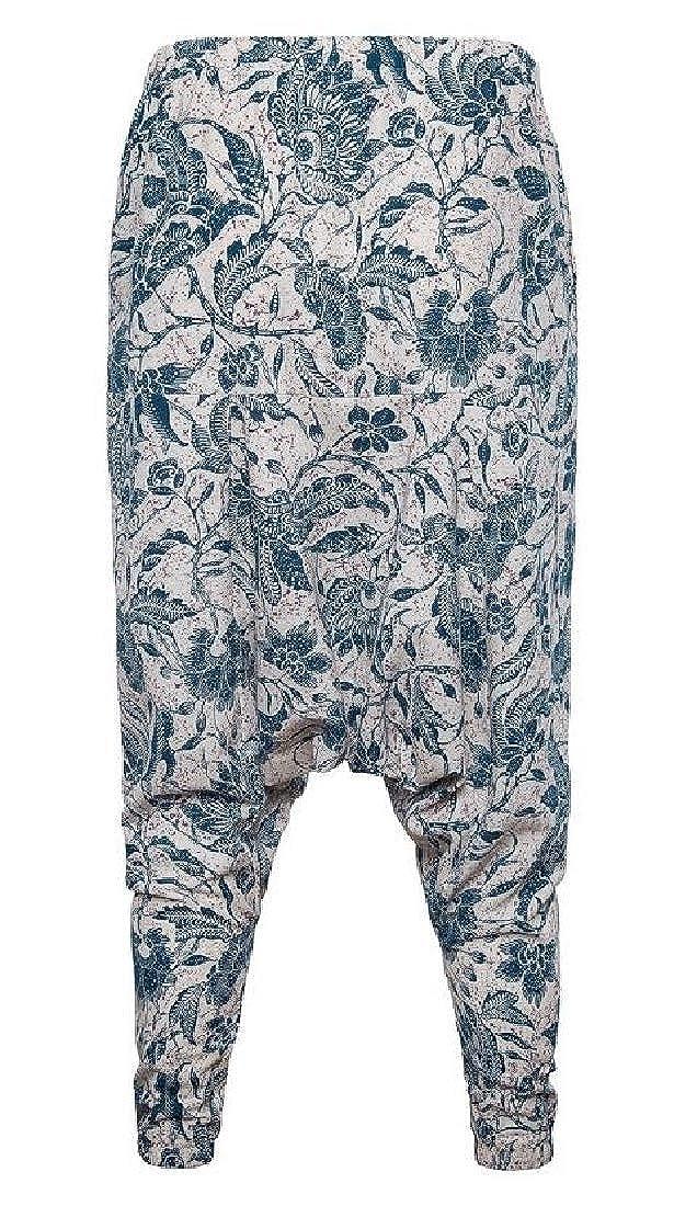 X-Future Mens Cotton Linen Elastic Waist Baggy Print Casual Harem Jogger Pants