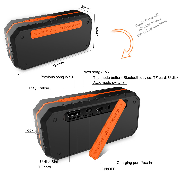 Ifecco Tragbarer Wasserdichter Bluetooth Lautsprecher Speaker Boombox mit 1800mAh Batterie für iPhone, iPad, Samsung, Nexus, HTC und andere Android Geräte (orange)