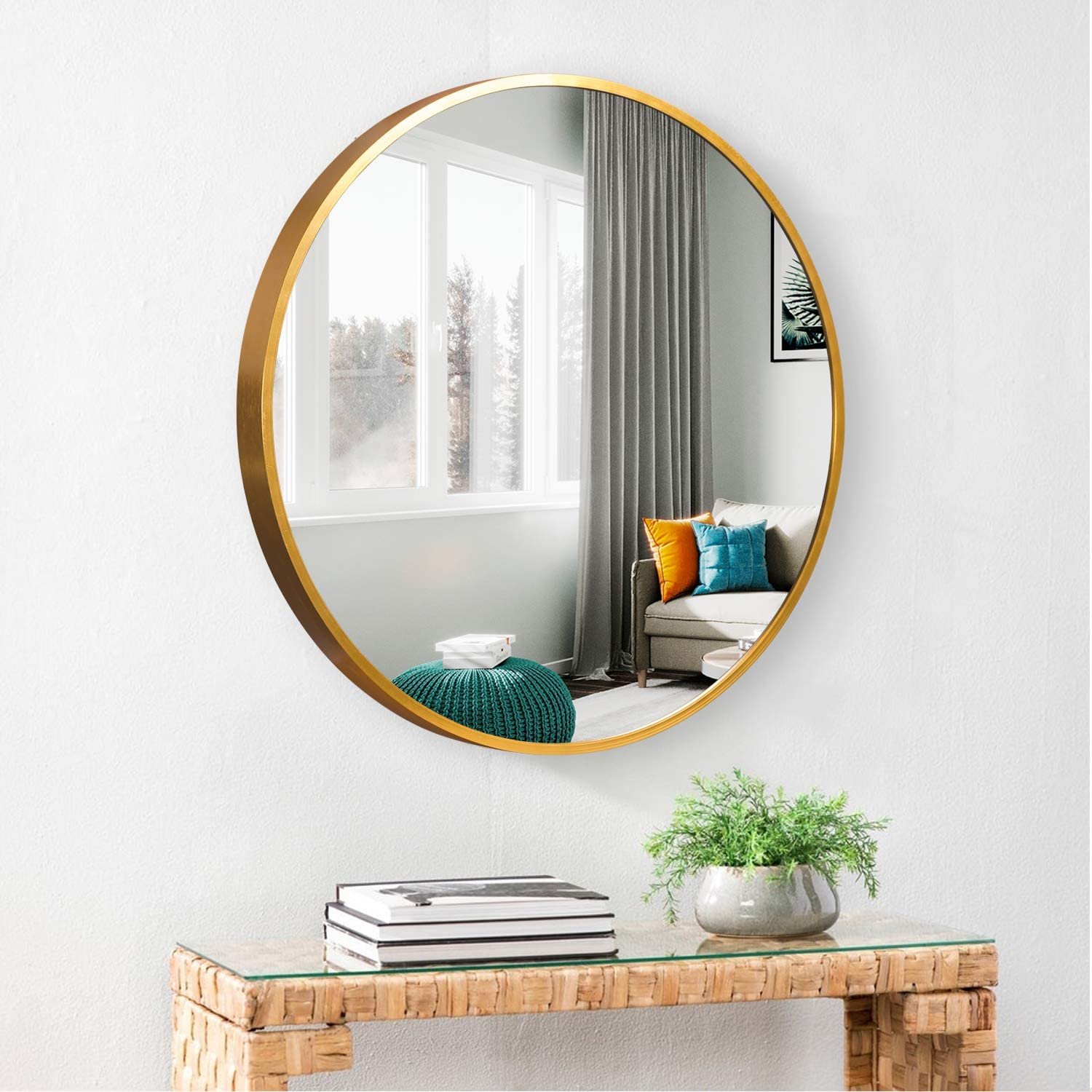 Amazon Com Round Mirrors Wall Decor Circle Mirror Bathroom Wall Mounted Make Up Mirror Bedroom Living Room Dining Room Entry Furniture Decor