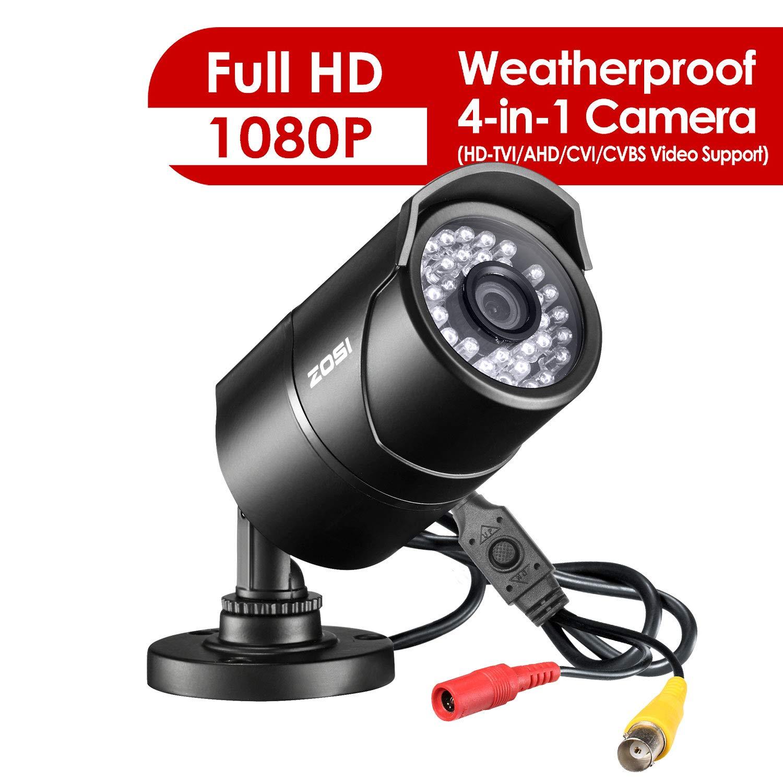 ZOSI 2.0MP HD 1080p 1920TVL Bullet Outdoor Indoor Security Camera Hybrid 4-in-1 HD-CVI TVI AHD 960H Analog CVBS ,36PCS LEDs,100ft IR Night Vision,Weatherproof Surveillance Camera-Black