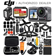 DJI Osmo Action 4K Camera with Underwater LED Light & Deluxe Accessory Bundle – Includes: 2X SanDisk Extreme 64GB microSDHC Memory Card, Carrying Case, Selfie Stick, Flexible Tripod & More