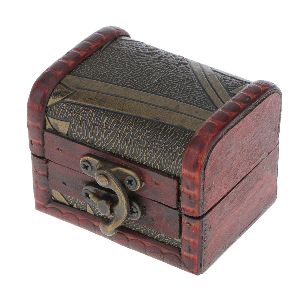 Retro Wooden Lock Treasure Chest Jewelry Storage Gift Box Container Case Generic STK0156001839