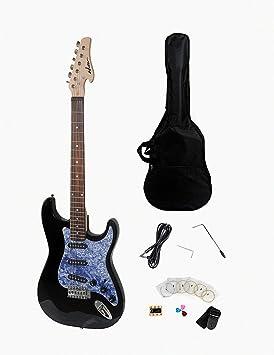 ADM tamaño completo estándar Strat guitarra eléctrica Bundle, Negro Acabado con metálico luz azul celuloide Golpeador: Amazon.es: Instrumentos musicales