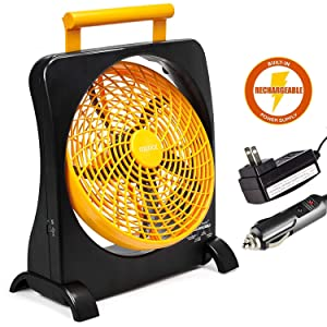 "O2COOL 10"" Battery Operated Fan - Portable Smart Power Fan with AC Adapter & USB Charging Port for Emergencies, Camping & Travel Use (Orange)"