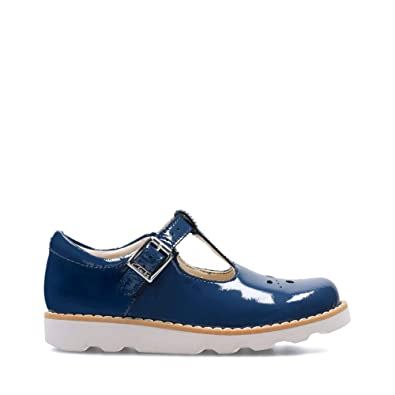 55bbfbd8b24 Clarks Crown Wish Infant Coated Leather Shoes in Blue Patent Wide Fit Size 7