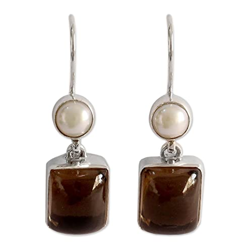 NOVICA Akoya Cultured Pearl and Smoky Quartz Sterling Silver Earrings, Bangalore Glam