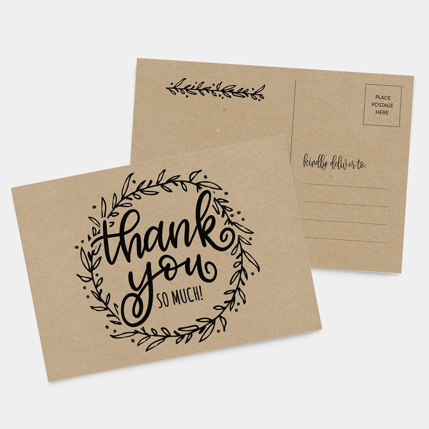 Thank You Cards Set of 10 Illustrated Rustic Floral Thank You Card Set Blank Kraft Note Cards