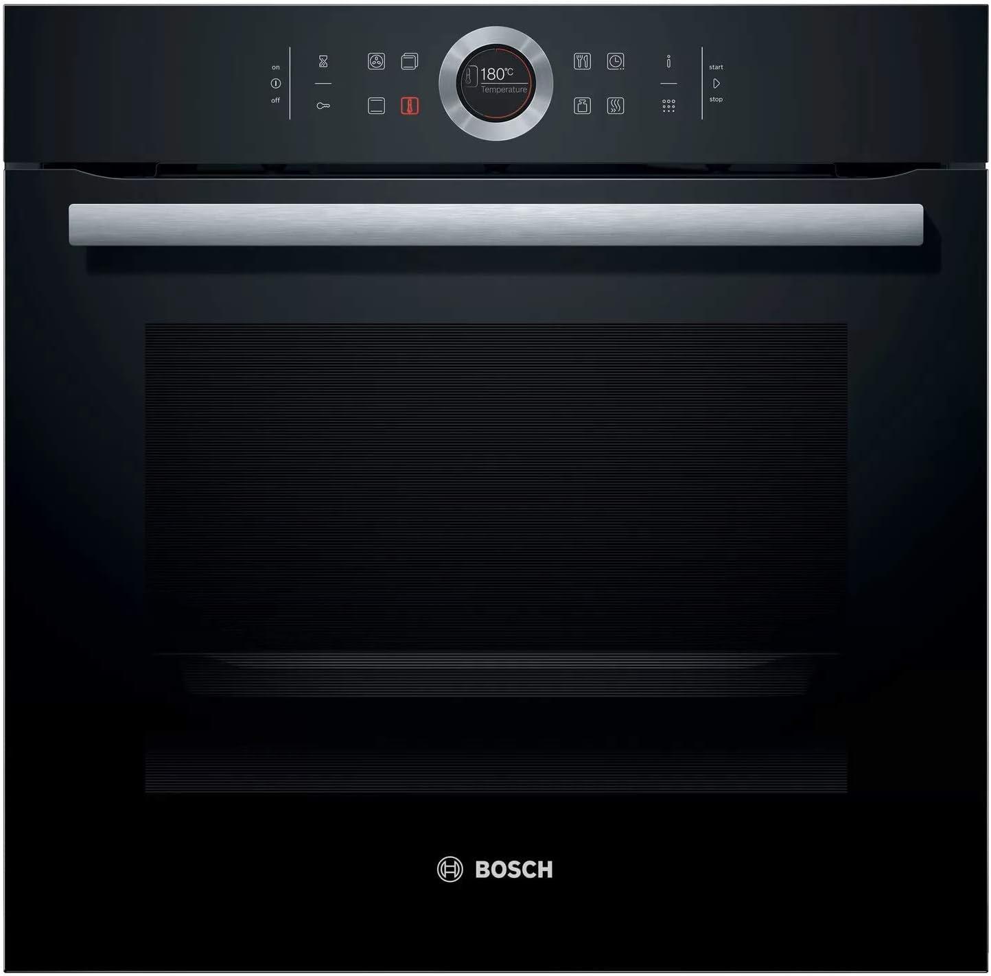 Bosch Serie 8 HBG675BB1 - Horno multifunción, 60 cm, Autolimpieza pirolítica, 3400 W , 13 funciones, Bloqueo de seguridad, Color Negro-Acero inoxidable