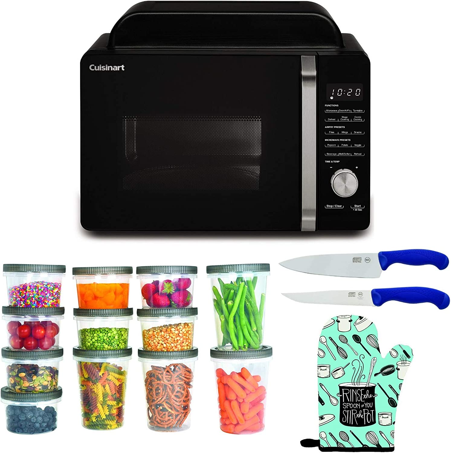Cuisinart AMW-60 3-in-1 Microwave AirFryer Convection Oven Bundle with Storage Containers, Oven Mitt, Chef Knife, and Utility Knife (5 Items)