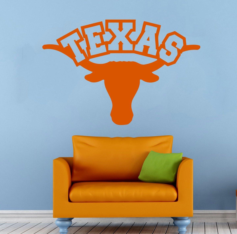"Texas Longhorns Wall Vinyl Decal Sticker NCAAF College Football Sport Home Interior Removable Decor (22""high X 38""Wide)"