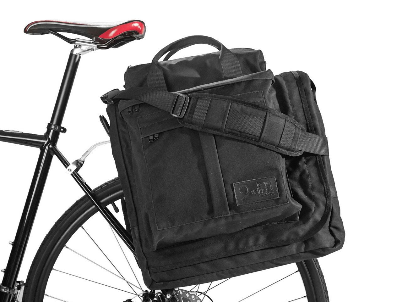 Two Wheel Gear - Executive Garment Pannier - Premium Waxed Canvas Commuter Suit Bag (Black)
