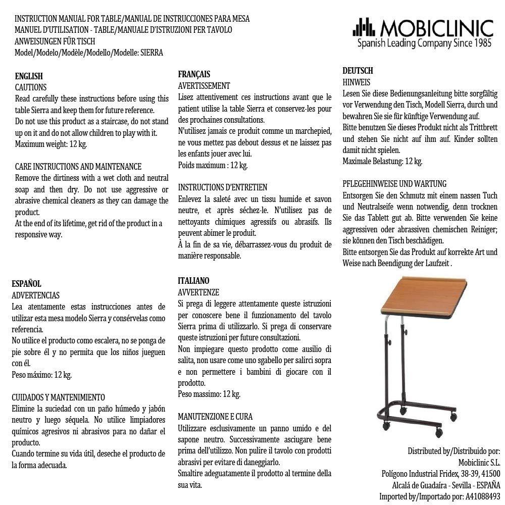 Mesa auxiliar cama o sofá | Ligera | Portátil | Regulable en altura | Reclinable | Con ruedas | Modelo Sierra | Mobiclinic